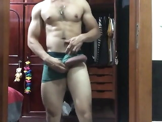 big cock Wanking and effectuation encircling his Latin monster amateur
